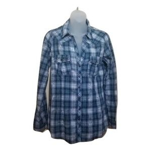 Maurices Premium Blue Plaid Button Up Womens Med